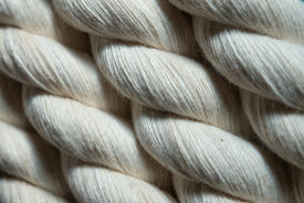 stock photo of roping  - Natural twisted cotton rope or rope close - JPG