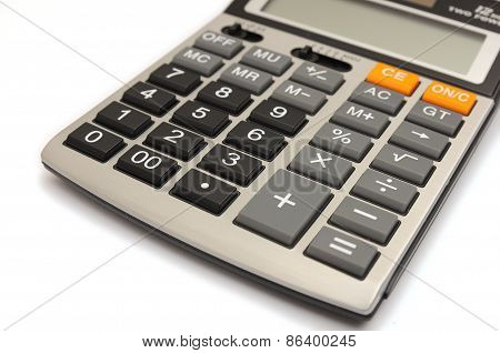 Closed-up calculator, Isolated on  white background