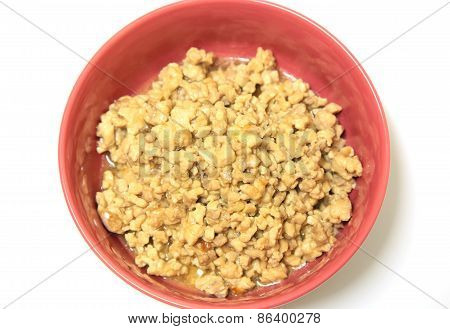 Fried Minced Meat With Garlic Close Up.