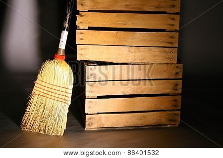 Wood Crates & Straw Broom