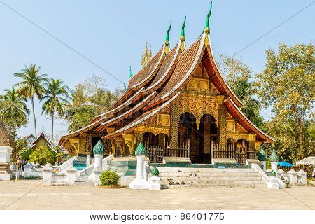 Colorful Wat Xieng Thong Temple In Luang Pra Bang Loas