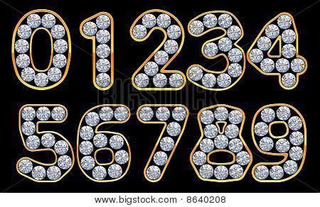 Orange 0 - 9 Numerals Incrusted With Diamonds