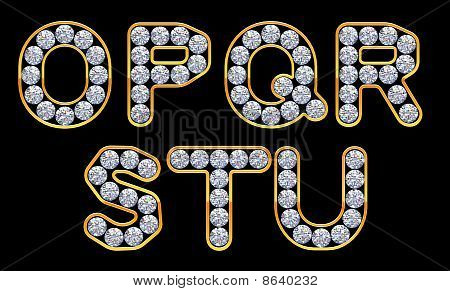 O - U Letters Incrusted With Diamonds