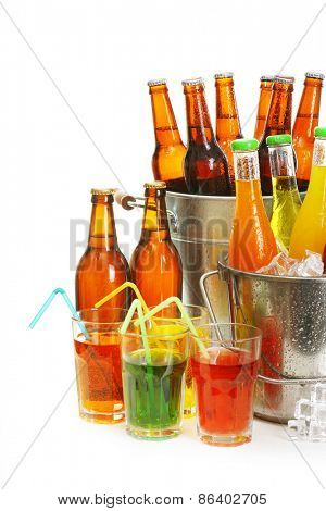 Glassware of different drinks isolated on white