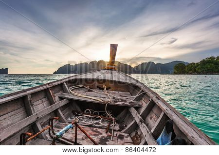 View from a moving boat in sunset time. Thailand