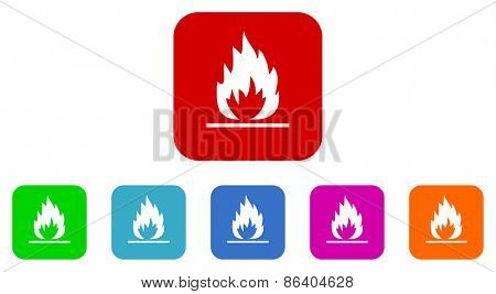 fire vector icon set