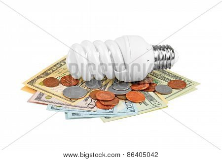 Energy saving light bulb and money