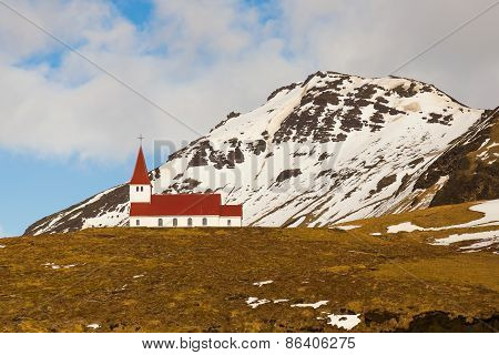 Countryside church during winter season