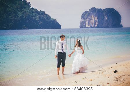 Groom And Bride Walk On Sand Beach