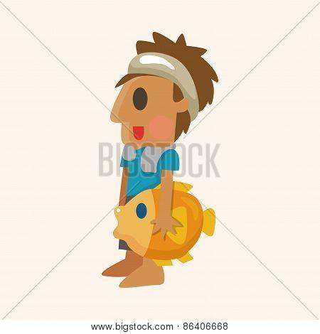 Fisherman Cartoon Theme Elements
