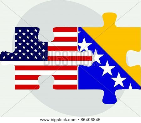 Usa And Bosnia And Herzegovina Flags In Puzzle