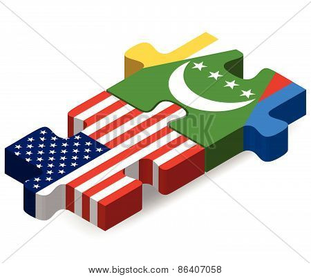 Usa And Comoros Flags In Puzzle