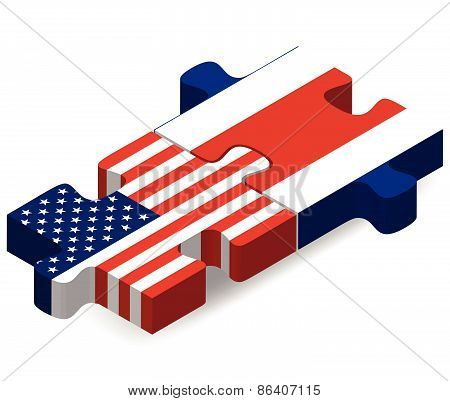 Usa And Costa Rica Flags In Puzzle