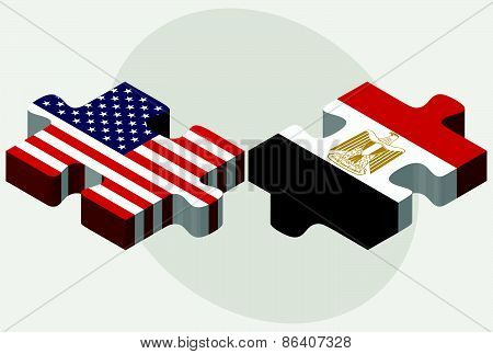 Usa And Egypt Flags In Puzzle