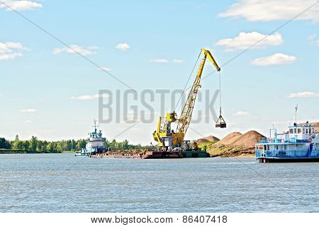 Crane river with sand