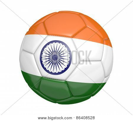 Soccer ball, or football, with the country flag of India