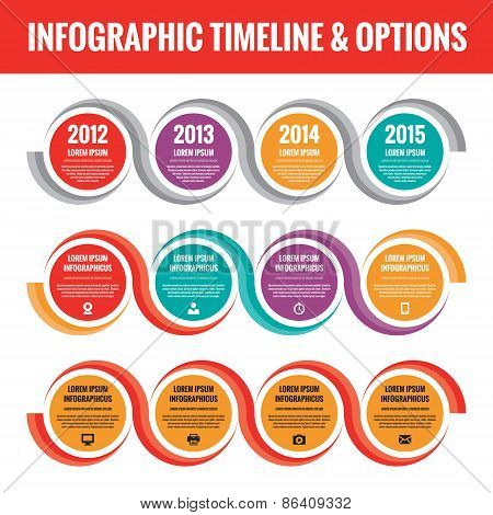 Infographic business concept in flat style design. Infographic timeline. Infographic numbered option