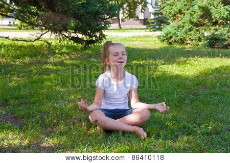 Cute Girl In Lotus Pose With Sore Knee