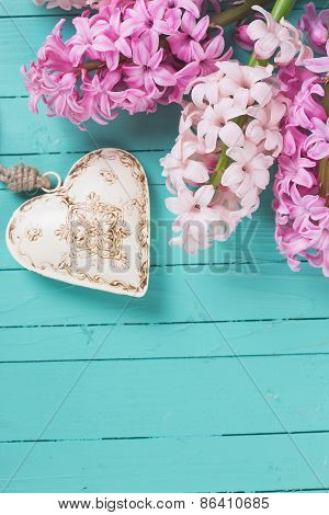 Background With Fresh Flowers Hyacinths And Heart