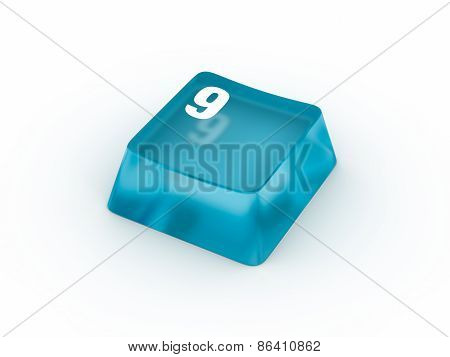 Keyboard button with number NINE
