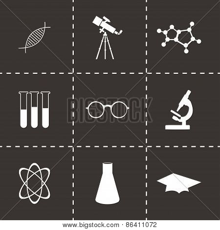 Vector black science icons set