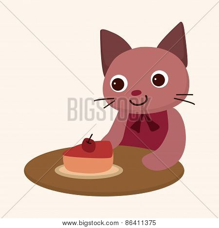 Animal Cat Having Afternoon Tea Theme Elements