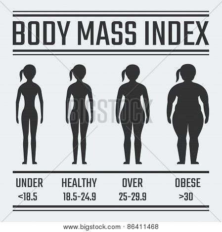 Body Mass Index Vector Illustration, Female Figure