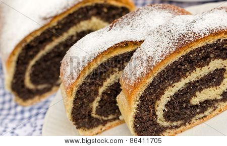 Strudel with poppy seeds on plate