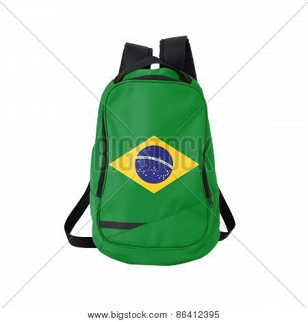 Brazil Flag Backpack Isolated On White