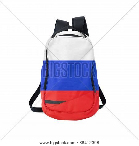 Russia Flag Backpack Isolated On White