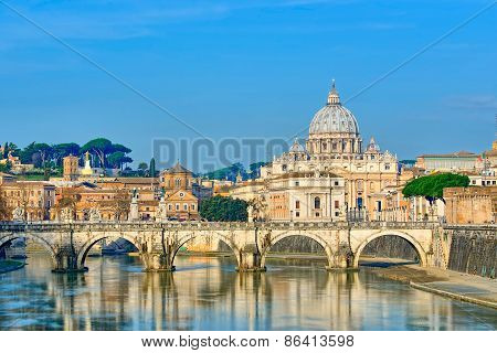 Bridge Of Castel St. Angelo On The Tiber.dome Of St. Peter's Basilica, Rome - Italy