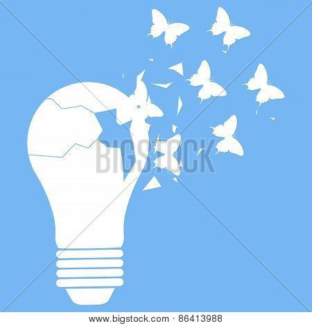 Vector illustration of light bulb on blue background