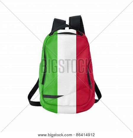 Italy Flag Backpack Isolated On White