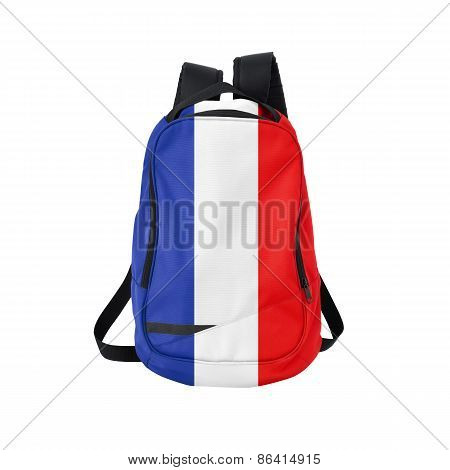France Flag Backpack Isolated On White