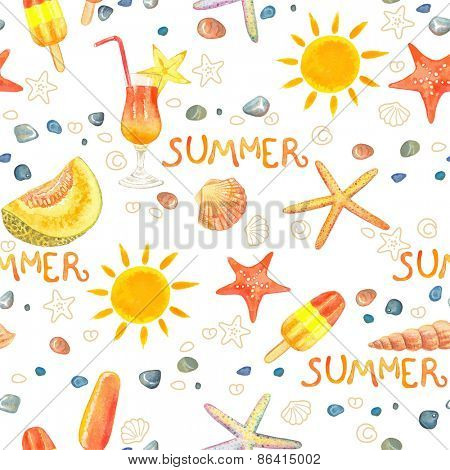 Seamless background with watercolor summer symbols.