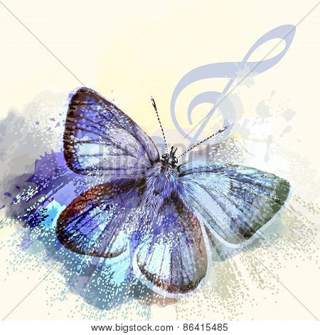 Fashion Butterfly Background With Treble Clef And Butterfly