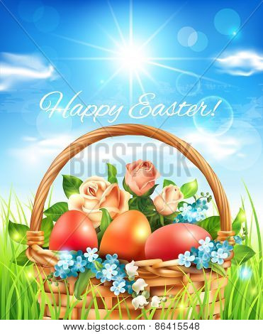 Easter greeting card with basket. Vector eps 10.