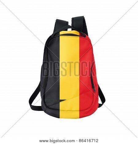 Belgium Flag Backpack Isolated On White