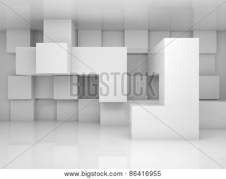 Abstract Interior With White Chaotic Cubes Pattern