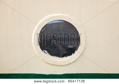 Old Round Porthole In Gray Ship Hull, Vintage Toned
