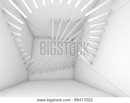 Abstract White Empty Room Interior With Spiral Decor