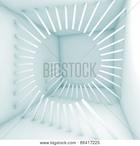 Abstract 3D Empty Room Interior With Decoration Helix