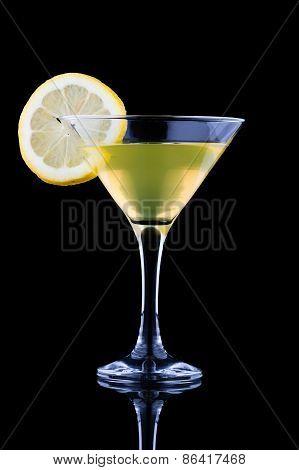 Lemon Martini On Black Background