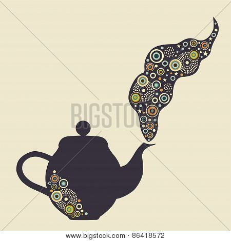 Stylized Kettle With Design Elements