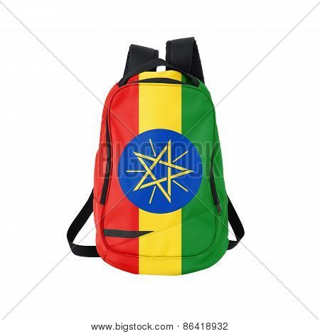 Ethiopia Flag Backpack Isolated On White