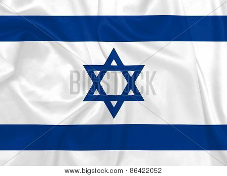 Israeli National flag with silk texture