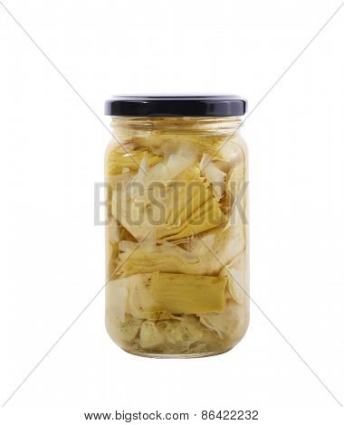 Glass Jar Of Preserved Artichokes