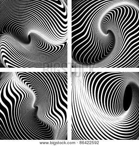 Whirlpool movement. Op art backdrops set. Vector art.
