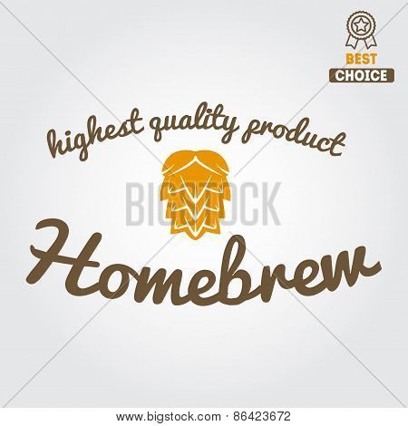 Vintage logo, badge, emblem or logotype design element for beer, beer shop, home brew, tavern, bar,