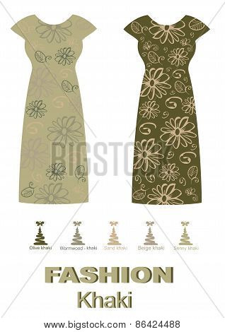 Fashion dress khaki color palette